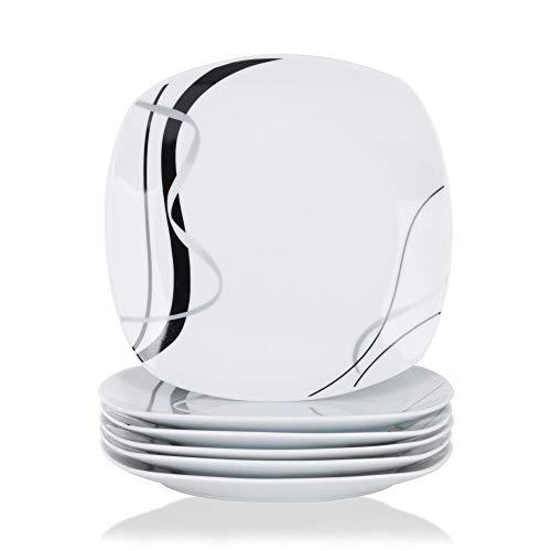 VEWEET Porzellan Speiseteller 'Fiona' 6-teilig Set | Durchmesser 24,7 cm | Ergänzung zum Tafelservice 'Fiona' | Essteller für 6 Personen