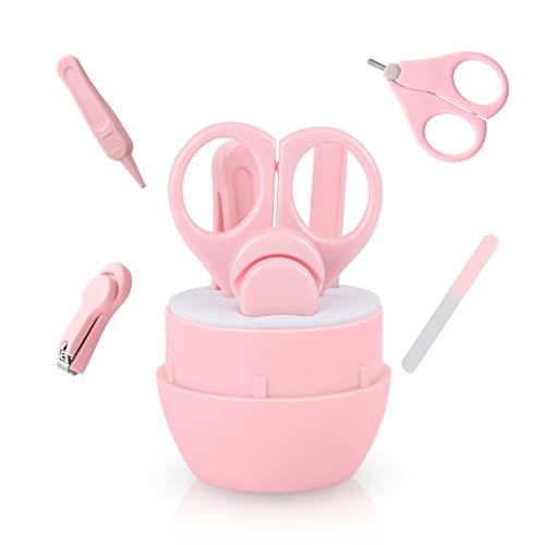 Babypflege 4 in 1 Set, Funkprofi Baby Pflege Nagelpflege Nagelschere Nagelknipser Glasnagelfeile und Nasenpinzette Nagelfeile Pink