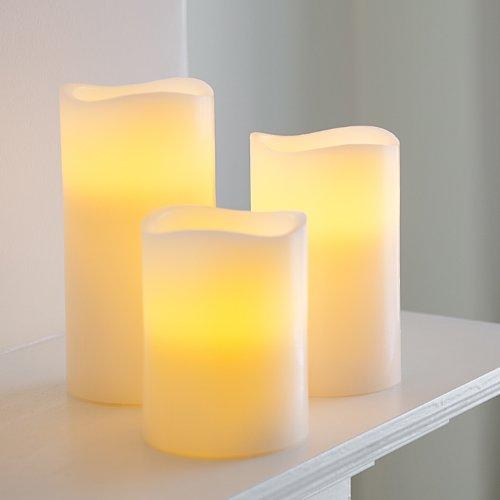 3er Set LED Echtwachskerzen Timer Lights4fun