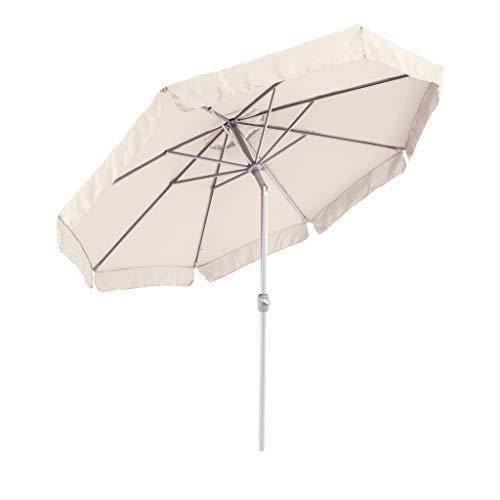 SORARA Sonnenschirm Parasol | Sand/Beige | Ø 300 cm / 3m | Rund Palermo | Polyester 180 g/m² (UV 50+)| Kurbel & Pendel (excl. Base)