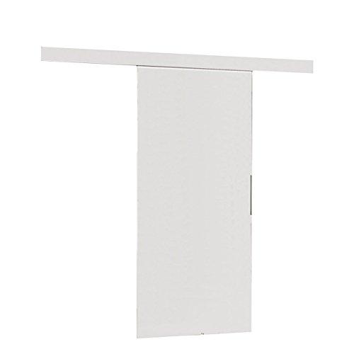 Mirjan24  Schiebetürsystem Multi Komplett-Set für Schiebetüren mit Bodenführung Abstandsführung Trennwände Innentüren (Weiß, Modell 90, mit Selbstschließer)