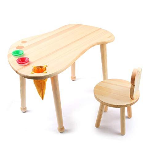Kinder-Hartholz-Spieltisch für Kinder, Kinder-Zeichentisch, Kinderfußabdruck aus massivem Holz für Spielzimmer/Kindertagesstätte/Vorschule, natürliches Finish (Tisch)