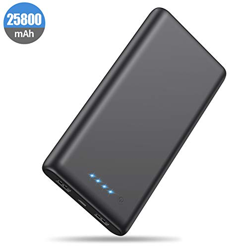 HETP Powerbank 25800 mAh Externer Akku, Kompakt Powerbank Power Pack 2 Port Output Hohe Kapazitat Tragbares Ladegerät mit LED-Statusanzeige, kompatibel mit Telefon und Tablet