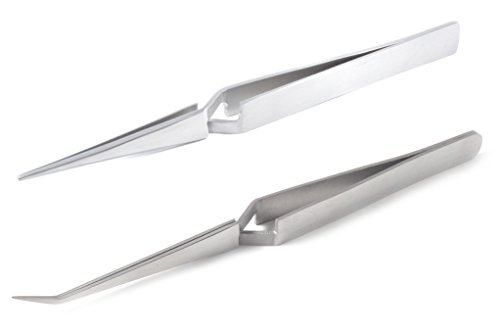 blueINOX Pinzetten-Set: 2 Lötpinzetten/Kreuzpinzetten / Industrie-Pinzetten/Technischen Pinzetten mit gerader und abgewinkelter Spitze Edelstahl rostfrei