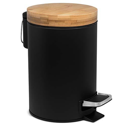 Kazai 3l Design Kosmetikeimer | Bambus-Holzdeckel mit Absenkautomatik | Treteimer mit Anti-Fingerabdruck und Komfort-Pedale | Schwarz