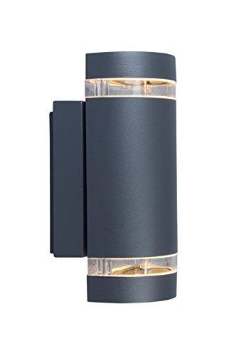 Eco Light Moderne Außenwandleuchte Focus Up- und Downlight, Fassung GU10, IP44 6040 GR