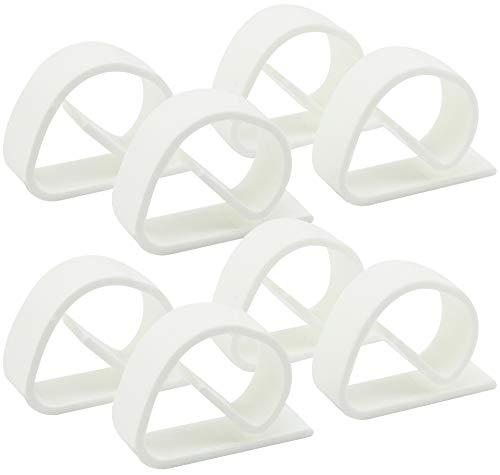 com-four 8X Tischtuchklammern aus bruchfestem Kunststoff in weiß, Tischdeckenbeschwerer, Tischdeckenhalter Made in Germany (08 Stück)