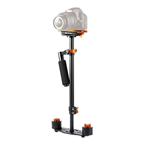TARION S60T Schwebestativ Kohlefaser 60cm mit Schnellwechselplatte 1/4 ' und 3/8 ' Gewinde für Kameras bis zu 3Kg