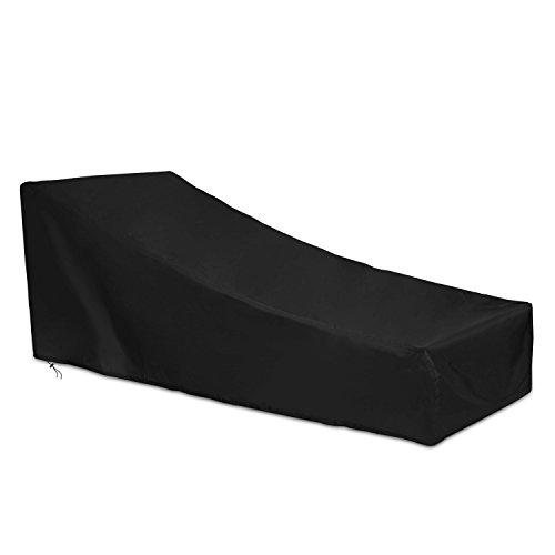 Dokon Abdeckung für Gartenliege Wasserdichtes Atmungsaktives Oxford-Gewebe Deckchair, Liegestuhl, Sonnenliege Schutzhülle(200x75x40/70cm) - Schwarz