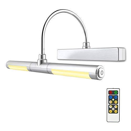 HONWELL Bilderleuchte LED Spiegelleuchte Verstellbare LED Wandleuchte für Bilder Spiegel AA Batterie Betriebene Wandleuchte mit Fernbedienungen 180° Schwenkarm (ABS Kunststoff und Aluminium)