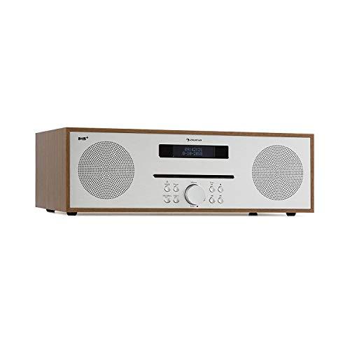auna Silver Star CD-DAB CD-Player mit DAB+- und UKW-Radio • Slot-In CD-Player • CD-Radio • Bluetooth • 2 x 20 Watt max. • USB • AUX-IN • Kopfhörerausgang • Holz-Optik • inkl. Fernbedienung • braun