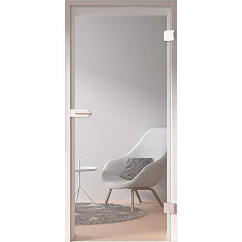 HORI Glastür Komplettset inkl. Zarge und Türgriff I Klarglas Dreh-Tür aus 8 mm ESG Glas I DIN rechts I 1972 x 834 x 120 mm