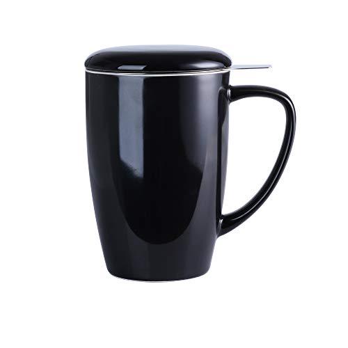 Lovecasa Porzellan Teetasse, 450 ml Becher mit Deckel und Teesieb, Schwarz