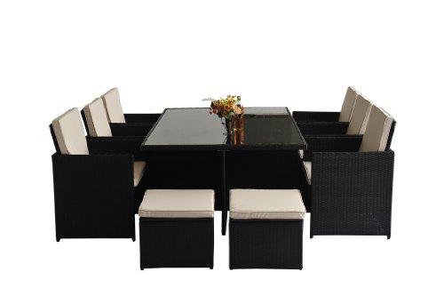 Polyrattan Gartenmöbel 27 tlg. Rattan Gartenset Essgruppe Lounge Sitzgruppe Sofa Loungemöbel Garnitur inkl. Kissen Alu Gestell