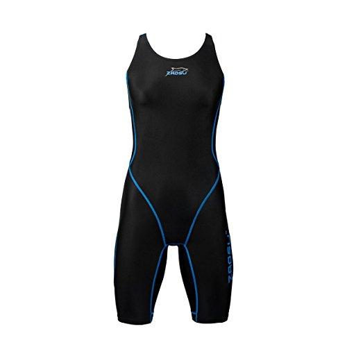 ZAOSU Wettkampf-Schwimmanzug Z-Black - Badeanzug für Mädchen und Damen, Größe:176 / 36, Farbe:schwarz/blau