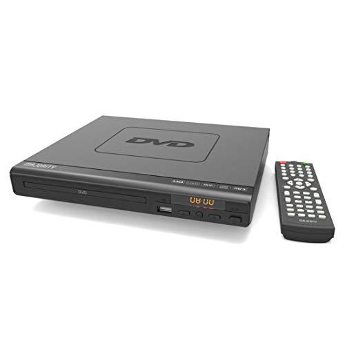 Majority Scholars DVD-Player - Verschiedene Regionen 1-6 - USB-Eingang - HDMI, DivX, MP3, JPG - Fernbedienung, RCA-Kabel für TV-Anschluss, Koaxial-Port (Schwarz)