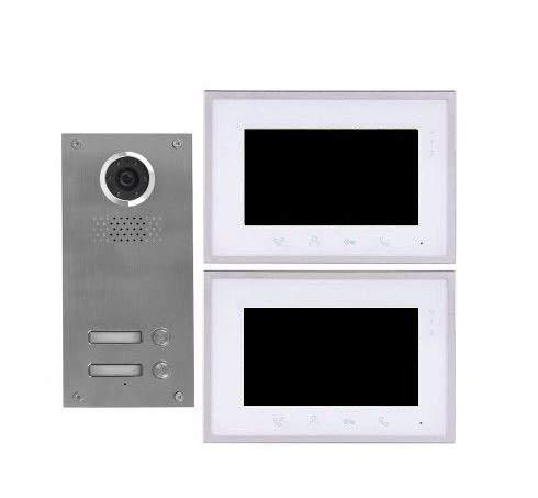 2 Draht 2-Familienhaus Video Türsprechanlage Gegensprechanlage mit 7 '' Monitor