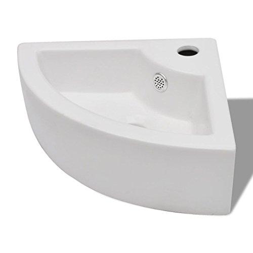 vidaXL Keramik Eck Waschtisch Waschbecken Keramikspülen mit Überlauf & Hahnloch