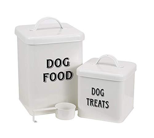 Hundefutter- und Leckerlibehälter Set mit Schaufel für Hunde - Vintage Cremefarben pulverbeschichteter Kohlenstoffstahl - dicht schließende Deckel - Vorratsdosen klein