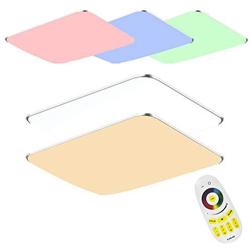 128W LED Deckenleuchte mit Fernbedienung RGB Dimmbar - Modern Ultraslim led panel deckenlampe - Küche Wohnzimmer Schlafzimmer Wandlampe (128W RGB)