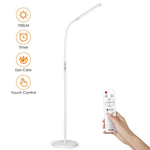 Albrillo LED Stehlampe 8W - 2-in-1 Leselampe & Stehleuchte, Touch & Remote Control, 5 Farbtemperaturen & 5 Helligkeitsstufen, Timer & Augenschutz, für Wohinzimmer, Schlafzimmer und Büro, Weiß