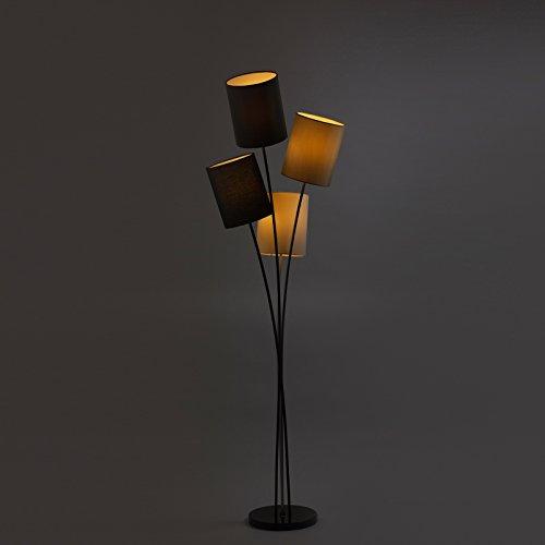 Moderne Designer Stehlampe mit 4 Lampenschirmen in weiß, grau, schwarz und beige   Wohnzimmer   Lounge   LED geeignet   Höhe 160 cm