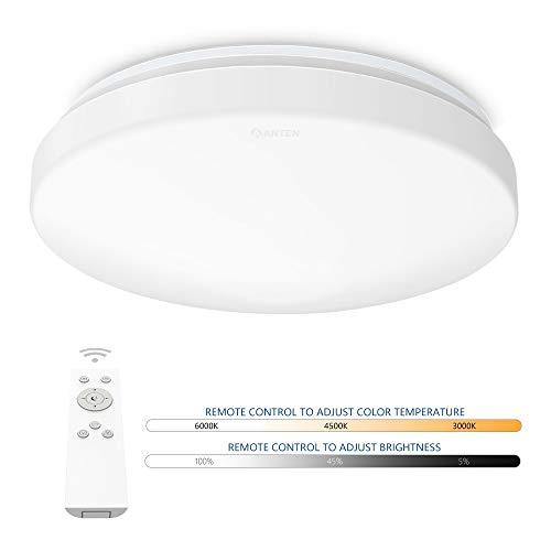AntenDeckenleuchte LED dimmbar mit Fernbedienungrund24W Farbtemperaturwechsel 3000K-6500KWandlampefür Wohnzimmer Schlafzimmer Esszimmer Bad Küche Flur usw. [Energieklasse A++]