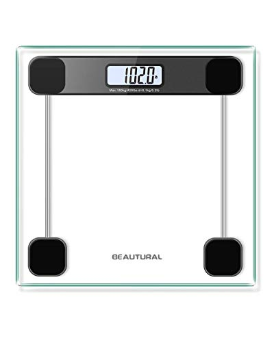 Beautural Digitale Personenwaage mit Step-on-Technologie, LCD-Display, 6 mm Glas, max. Tragkraft 180 kg