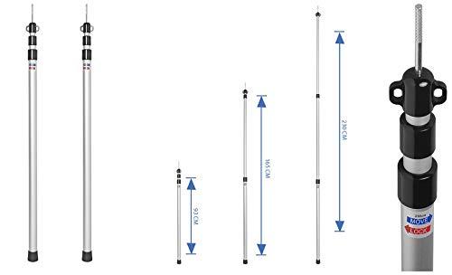 ProPlus 2 STK Teleskop Zeltstange 93-230 cm Alu 3 Größen einstellbar