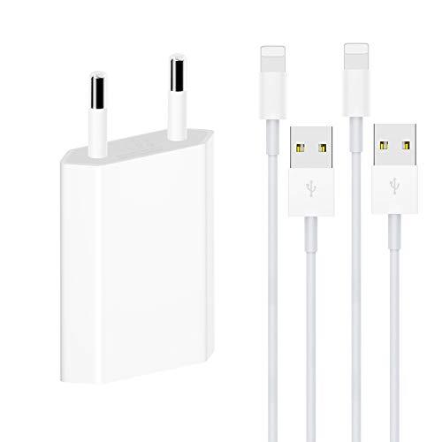 WNAUNG Ladeset[MFi Certified], 2x3FT Phone Ladekabel und 1 Pack USB Netzteil Netzstecker für iPhone XS/XR/XR Max/X/8/8 Plus/7/7 Plus, iPad 4/Pro/Mini(Weiß)