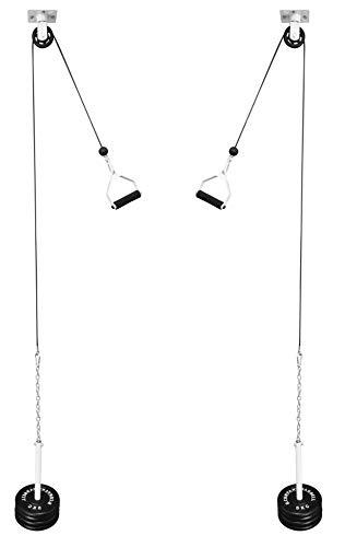 Bad Company Kabelzug zur Deckenmontage inkl. Zubehör I Cross Over Seilzug für 30/31 mm Hantelscheiben I BCA-113
