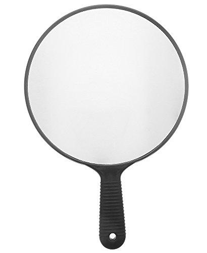 Großer Ø 26 cm Handspiegel Salon Friseur-Spiegel, Schwarz Hand-Spiegel Kosmetex, 1:1, Groß
