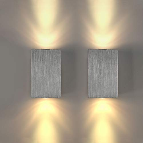 Lightess 2x 6W Wandleuchte LED Wandlampe Innen Modern Up and Down Wand Beleuchtung Silber aus Aluminium für Treppenhaus Flur Theater Studio Halle Korridor Nacht Schlafzimmer, Warmweiß
