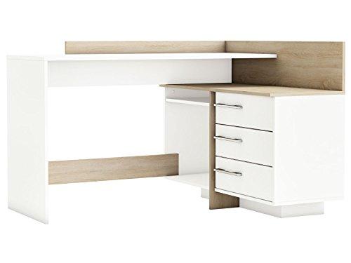 Eckschreibtisch Schreibtisch Arbeitstisch Bürotisch Computertisch Tisch 'Thales' (weiß mit Absatz Sonoma/Eiche)