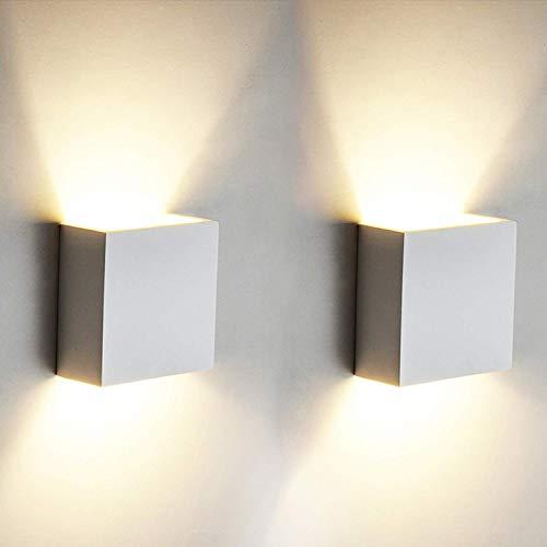 2 Stücke 6W LED Wandleuchte Up Down Indoor Wandleuchte Moderne Aluminium Uplighter Downlighter Wandleuchte Leuchten für Wohnzimmer Schlafzimmer Badezimmer Küche Esszimmer, warmes Weiß