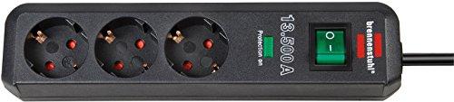 Brennenstuhl Eco-Line, Steckdosenleiste 3-fach mit Überspannungsschutz (mit Schalter und 1,5m Kabel - besonders stromsparend) Farbe: anthrazit