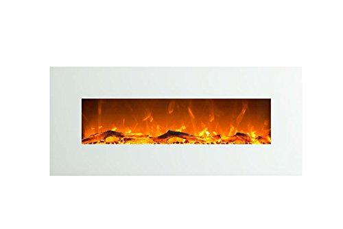 Elektrokamin Glow Fire Venus, 130 cm breit, Wandkamin elektrisch (1500 Watt Heizlüfter, Farbige LED-Beleuchtung; Glasscheibe, Dimmer, Fernbedienung) weiß (Flammen mit Holzdekoration)