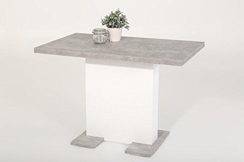 Esstisch Säulentisch - BUGSY - Ausziehtisch Tisch ausziehbar in Beton / Weiß