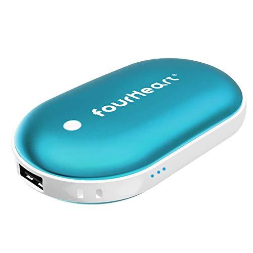 Four Heart Wiederaufladbare 2in1 Handwärmer +Power Bank, 5200mAh USB/USB-C Double-Side Handwärmer elektrisch Taschenwärmer für iPhone, Samsung Galaxy und mehr