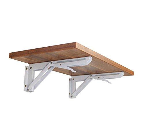 Wandregal-Halterung zum Einklappen, dreiecksförmig, aus kaltgewalztem Stahl, Tisch, Bank, maximale Traglast ca. 59 kg 132lb # 81223(Doppelpack)