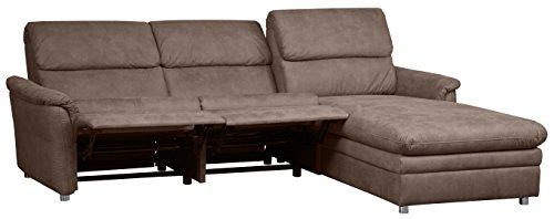 Cavadore Chalsay Sofaecke mit Longchair rechts inkl. Relaxfunktion und verstellbarem Kopfteil / mit Federkern / Eckcouch im modernen Design / Größe: 252 x 94 x 177 cm (BxHxT) / Farbe: Braun (chocco)