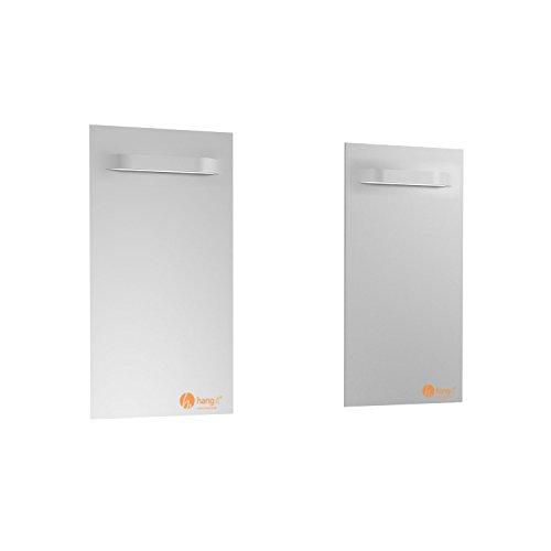Spiegelbefestigung Set - 2 Stück Spiegelbleche für das Aufhängen von Spiegeln, Alu-Dibond, Plexiglas Platten - Tragkraft 20kg - Spiegelhalter von Hang-it