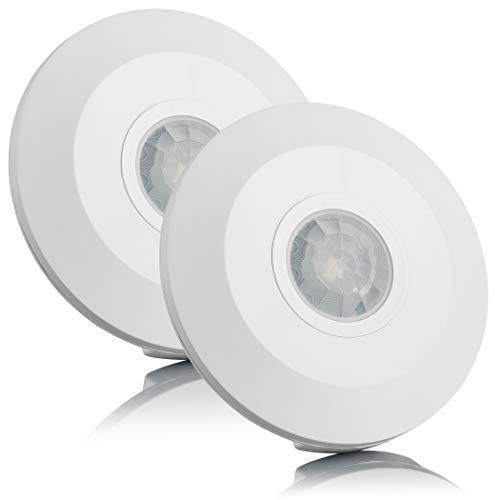SEBSON Bewegungsmelder Innen Aufputz, Decken Montage, programmierbar, Infrarot Sensor, Reichweite 6m/ 360°, Bewegungssensor LED geeignet, 2er Pack