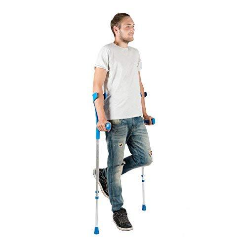PEPE-KRÜCKEN, Gehhilfe Krücken Blau, Gehilfen Krücken für Senioren, Verstellbare Aluminium Krucken, Doppelset Blau Krücken