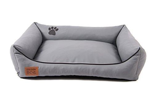Hundebett Kunst Leder Luxus Hundebett Hundesofa Katzenbett Hundekorb S M L XL XXL XXXL Dollaro (XXL ( ca. 120x90 cm), grau)