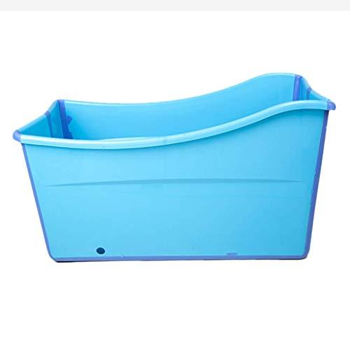 LVLUOYE Bath Barrel Erwachsene Kunststoff-Badebottich Eindickung Haushalt Bad Barrel Female Haushalt Körper Folding (Farbe: Blau) -blau