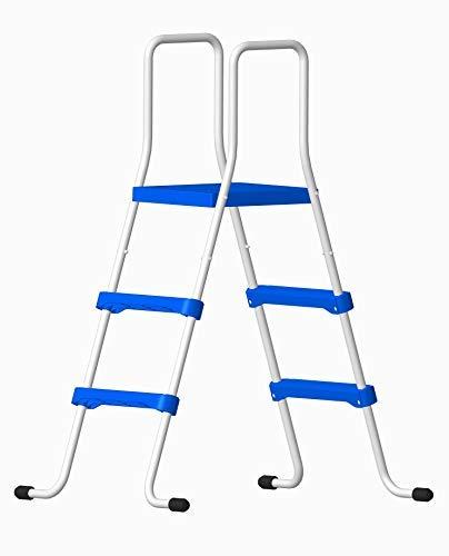 well2wellness Poolleiter Schwimmbad Leiter - 2-stufig mit Plattform 150/91 cm (024288)