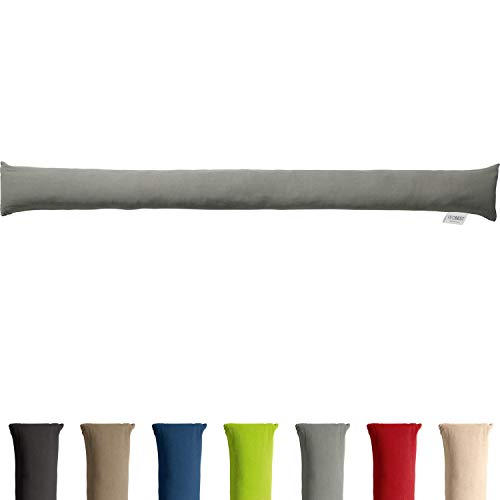 REDBEST Zugluftstopper - Türstopper - Windstopper - Luftzugstopper - Windschutz - für Fenster und Türen - Premium-Qualität - mit Beschwerung - grau - Größe 90x10 cm