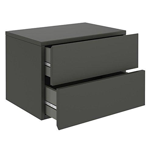 Wandregal ANNI Hängeregal Nachtkommode hängend Nachttisch Wandboard mit 2 Schubladen in grau anthrazit