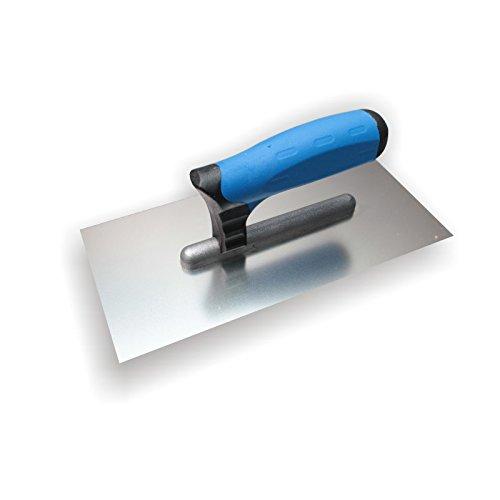 DEWEPRO Glättekelle - Glättkelle - Glattkelle - Traufel mit Edelstahlblatt - 270x130 mm - PROFI Modell - Aufziehglätter